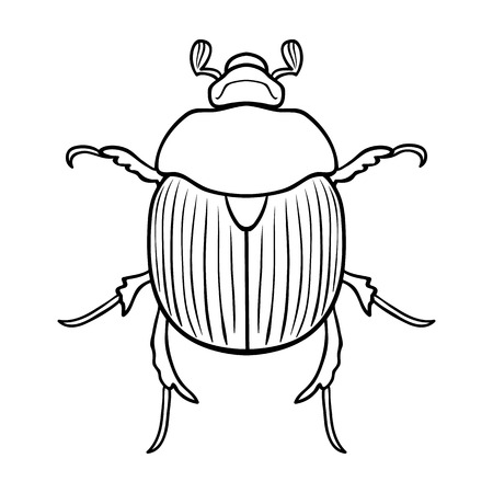 geotrupidae: Dor-beetle icon in outline design isolated on white background. Insects symbol stock vector illustration. Illustration
