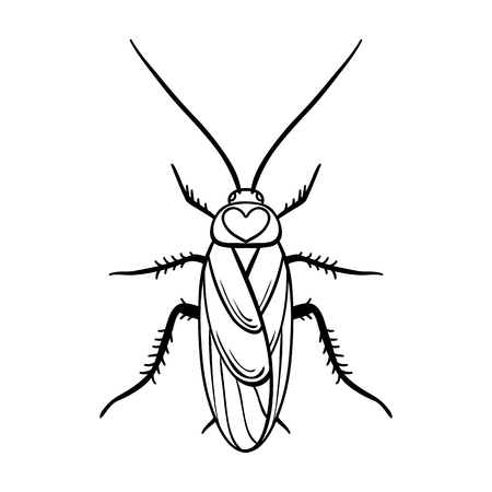 Cockroach icon in outline design isolated on white background. Insects symbol stock vector illustration.