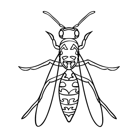 wasp: Wasp icon in outline design isolated on white background. Insects symbol stock vector illustration.