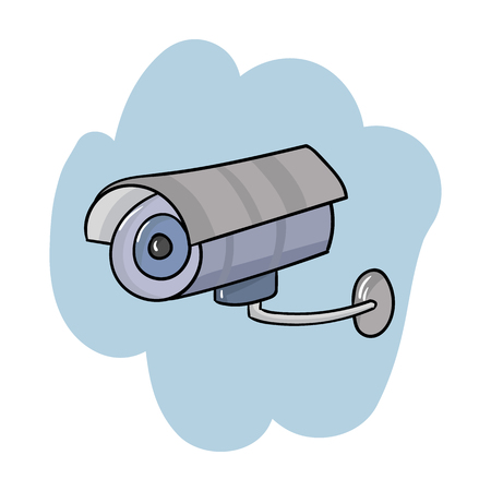 Security camera icon in cartoon style isolated on white background. Supermarket symbol stock vector illustration.