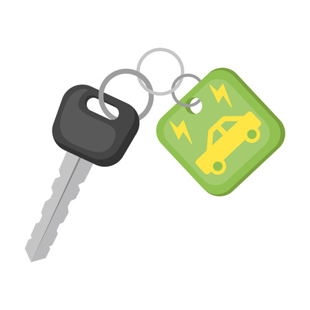 Key from eco car icon in cartoon style isolated on white background. Bio and ecology symbol stock vector illustration.