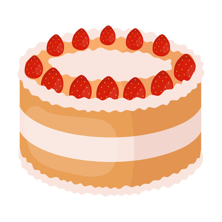 Strawberry cake icon in cartoon style isolated on white background. Cakes symbol stock vector illustration.