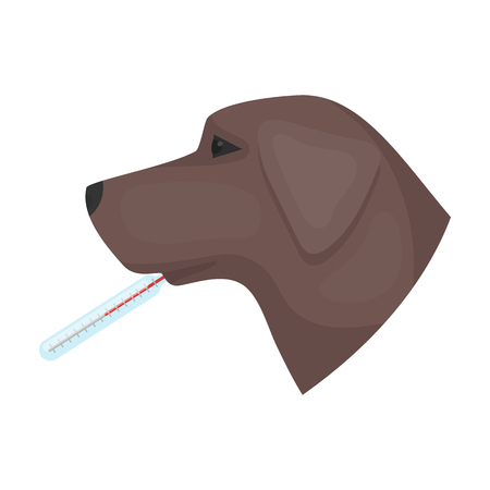 cold compress: Dog with thermometer icon in cartoon style isolated on white background. Veterinary clinic symbol stock vector illustration.