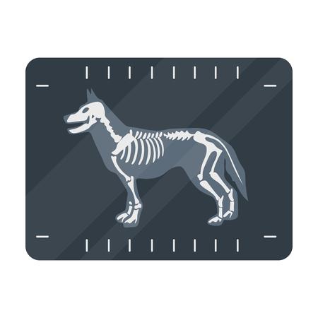 Perro icono de rayos X en el estilo de dibujos animados aislado en el fondo blanco. símbolo de la clínica veterinaria vector de ilustración stock.