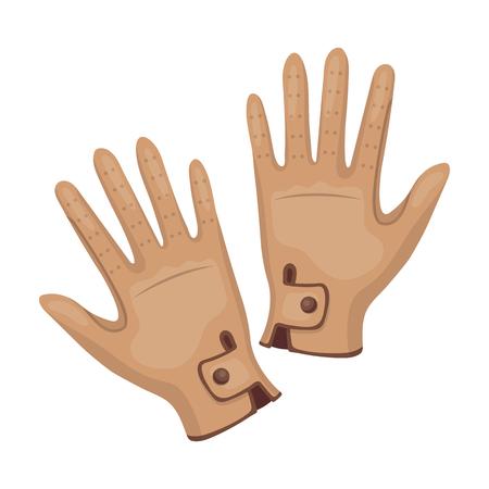 hippodrome: Jockeys gloves icon in cartoon style isolated on white background. Hippodrome and horse symbol stock vector illustration.