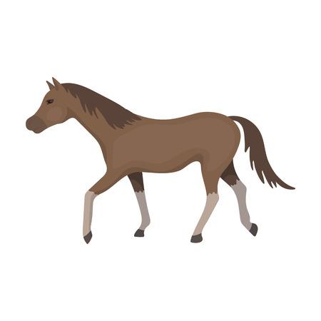hippodrome: Horse icon in cartoon style isolated on white background. Hippodrome and horse symbol stock vector illustration.
