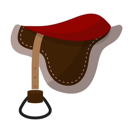 stirrup: Saddle icon in cartoon style isolated on white background. Hippodrome and horse symbol stock vector illustration.
