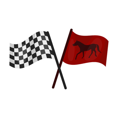 Crossed checkered and equestrian flags icon in cartoon style isolated on white background. Hippodrome and horse symbol stock vector illustration.