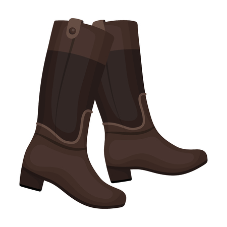 hippodrome: Jockeys high boots icon in cartoon style isolated on white background. Hippodrome and horse symbol stock vector illustration.