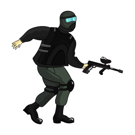 paintball: Paintball player icon in cartoon style isolated on white background. Paintball symbol stock vector illustration. Illustration