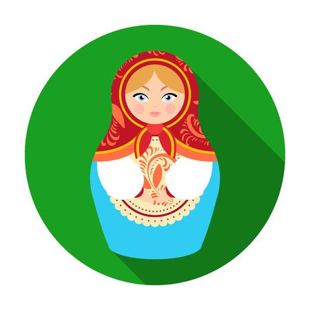 matreshka: Russian matrioshka icon in flat style isolated on white background. Russian country symbol stock vector illustration.