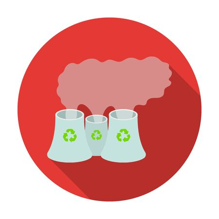 recycling plant: Recycling plant icon in flat style isolated on white background. Bio and ecology symbol stock vector illustration. Illustration