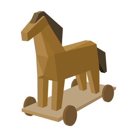 Trojan icône de cheval dans le style de dessin animé isolé sur fond blanc. Hackers et symbole de piratage boursier illustration vectorielle.