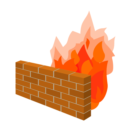 Firewall icon in cartoon style isolated on white background. Hackers and hacking symbol stock vector illustration.