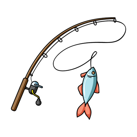 Fishing rod and fish icon in cartoon style isolated on white background. Fishing symbol stock vector illustration.