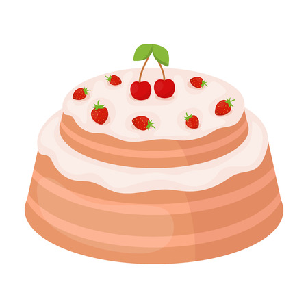 Cake with cherry icon in cartoon style isolated on white background. Cakes symbol stock vector illustration. Illustration