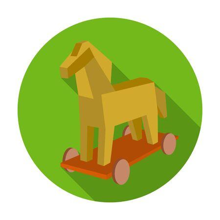 icona di cavallo di Troia in stile piatto isolato su sfondo bianco. Gli hacker e simbolo di hacking illustrazione stock vettoriale. Vettoriali