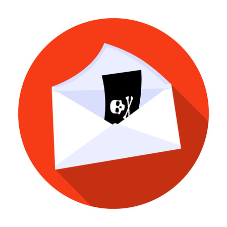 E-mail with virus icon in flat style isolated on white background. Hackers and hacking symbol stock vector illustration.