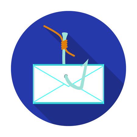 Hooked icône e-mail dans un style plat isolé sur fond blanc. Hackers et symbole de piratage boursier illustration vectorielle.