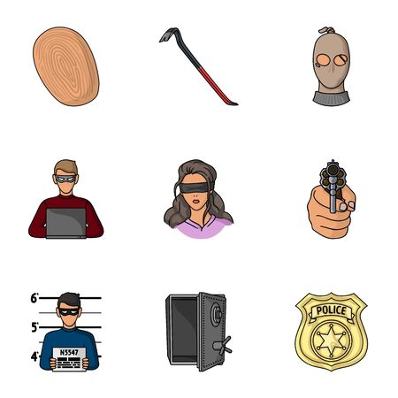 crowbar: Crime set icons in cartoon style. Big collection of crime vector symbol stock illustration Illustration
