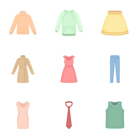 show plant: Clothes set icons in cartoon style. Big collection of clothes vector symbol stock illustration Illustration