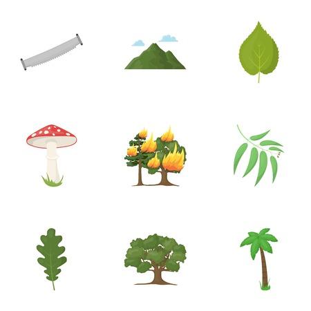 Bosque establece iconos en estilo de dibujos animados. Gran colección de ilustración stock de símbolo de vector de bosque