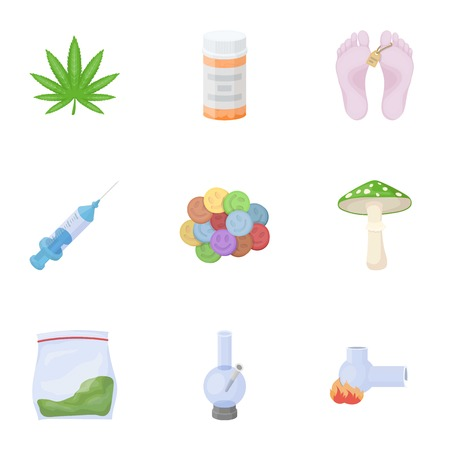 ecstasy: Drugs set icons in cartoon style. Big collection of drugs vector symbol stock illustration