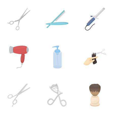 Kapper stel pictogrammen in cartoon stijl. Grote inzameling van de voorraadillustratie van het kapper vectorsymbool Stock Illustratie