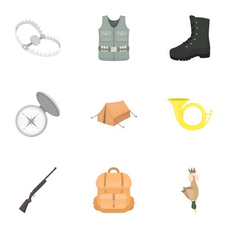 vest in isolated: Hunting set icons in cartoon style. Big collection of hunting vector symbol stock illustration
