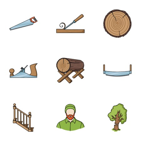 Sawmil and timber set icons in cartoon style. Big collection of sawmill and timber vector symbol stock illustration Illustration