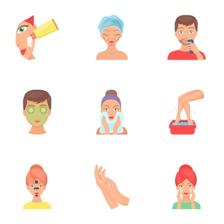 Skin care set icons in cartoon style. Big collection of skin care vector symbol stock illustration