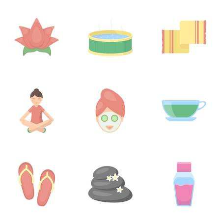ointment: Spa set icons in cartoon style. Big collection of spa vector symbol stock illustration