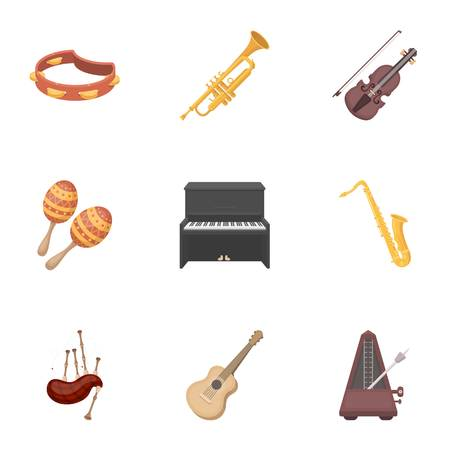 gaita: Musical instruments set icons in cartoon style. Big collection of musical instruments vector symbol stock illustration Vectores