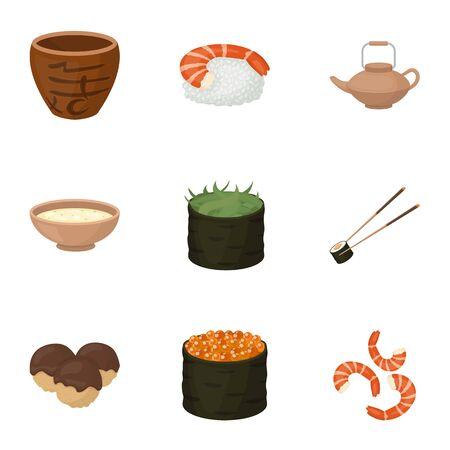 Sushi set icons in cartoon style. Big collection of sushi vector symbol stock illustration Illustration