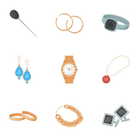 diamond earrings: Jewelry and accessories set icons in cartoon style. Big collection of jewelry and accessories vector symbol stock illustration