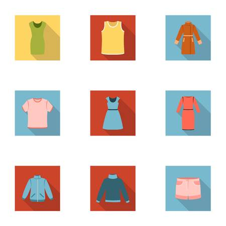 raglan: Clothes set icons in flat style. Big collection of clothes vector symbol stock illustration Illustration
