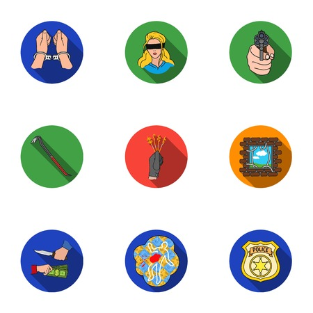 crowbar: Crime set icons in flat style. Big collection of crime vector symbol stock illustration