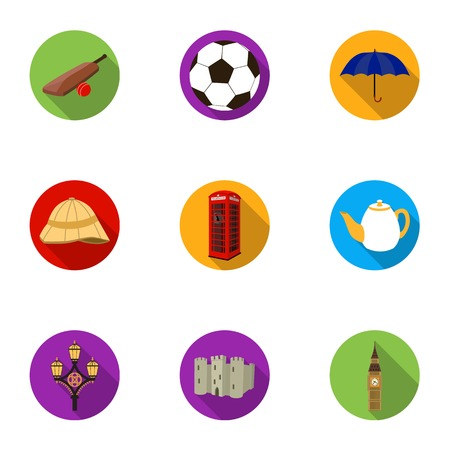 England country set icons in flat style. Big collection of England country vector symbol stock illustration