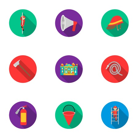 pike: Fire department set icons in flat style. Big collection of fire department vector symbol stock illustration