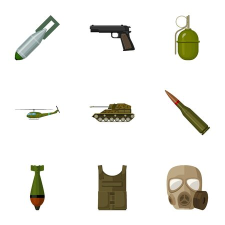 explosive gas: Military and army set icons in cartoon style. Big collection of military and army vector symbol stock illustration