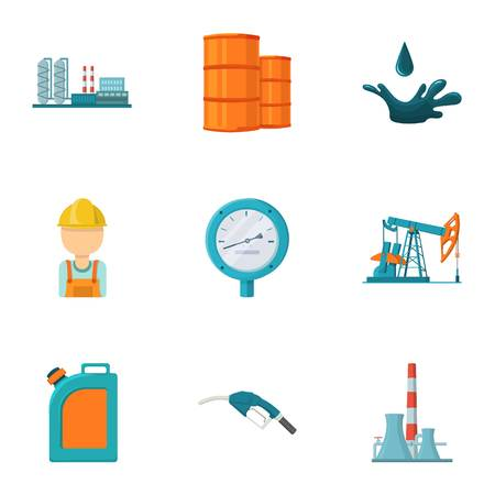 Oil Industry Set Icons In Cartoon Style Big Collection Of Oil