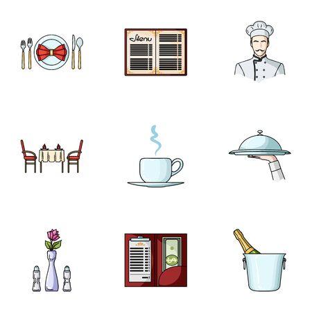 bucket of money: Restaurant set icons in cartoon style. Big collection of restaurant vector symbol stock illustration