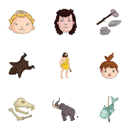 bearskin: Stone age set icons in cartoon style. Big collection of stone age vector symbol stock illustration
