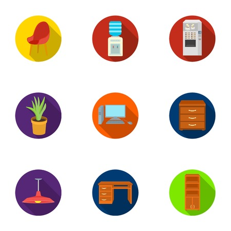 Office furniture and interior set icons in flat style. Big collection of office furniture and interior vector symbol stock illustration