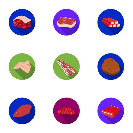 meats: Meats set icons in flat style. Big collection of meats vector symbol stock illustration