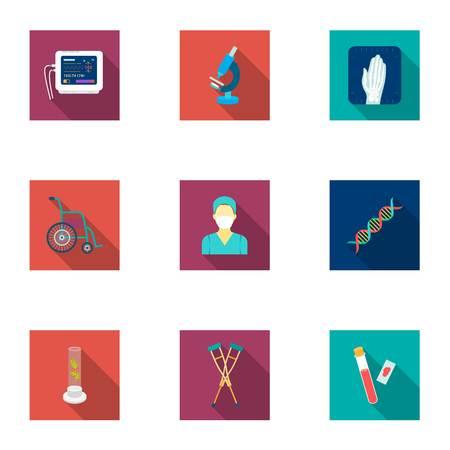 Geneeskunde en ziekenhuis stel pictogrammen in vlakke stijl. Grote inzameling van geneeskunde en de voorraad vectorillustratie van het ziekenhuis vectorsymbool Vector Illustratie