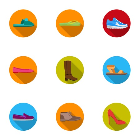 Shoes set icons in flat style. Big collection of shoes vector symbol stock illustration Illustration