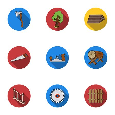 Sawmil and timber set icons in flat style. Big collection of sawmill and timber vector symbol stock illustration