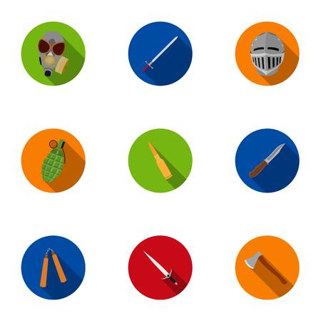 Weapon set icons in flat style. Big collection of weapon vector symbol stock illustration