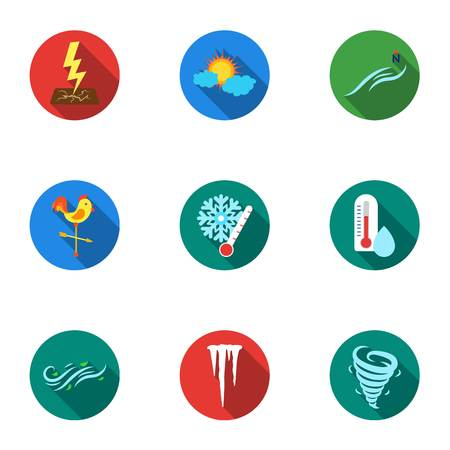 Weather set icons in flat style. Big collection of weather vector symbol stock illustration Illustration